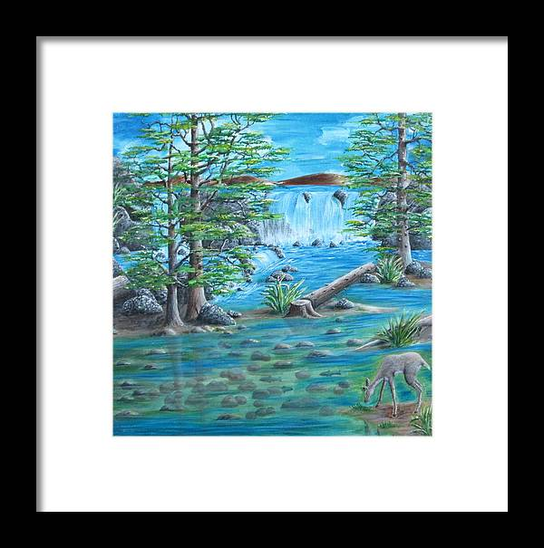 Landscape Framed Print featuring the painting By The Falls by Katia Wallace