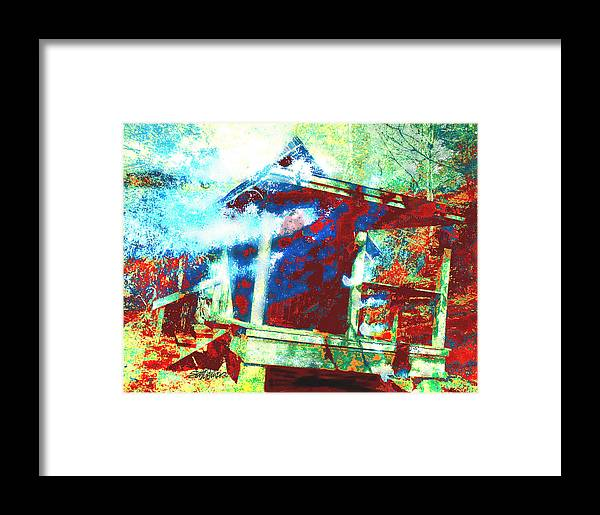 Cabin In The Fog Framed Print featuring the digital art Cabin In The Fog by Seth Weaver