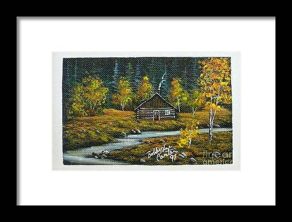 Log Cabin Framed Print featuring the painting Cabin In The Woods by Bobbylee Farrier
