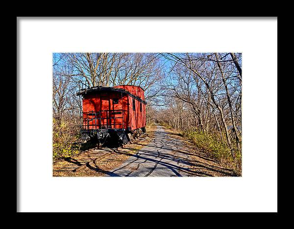 Caboose Framed Print featuring the photograph Caboose Among The Tree Shadows by Julio n Brenda JnB