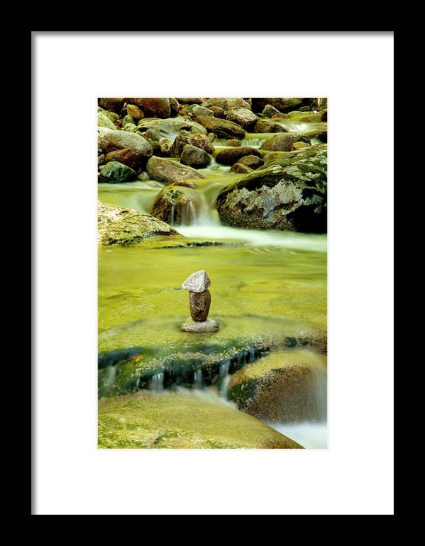 Water Framed Print featuring the photograph Cairn by Greg Fortier