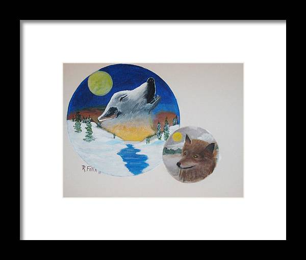 Wolf Framed Print featuring the painting Call Of The Wild by Rich Fotia