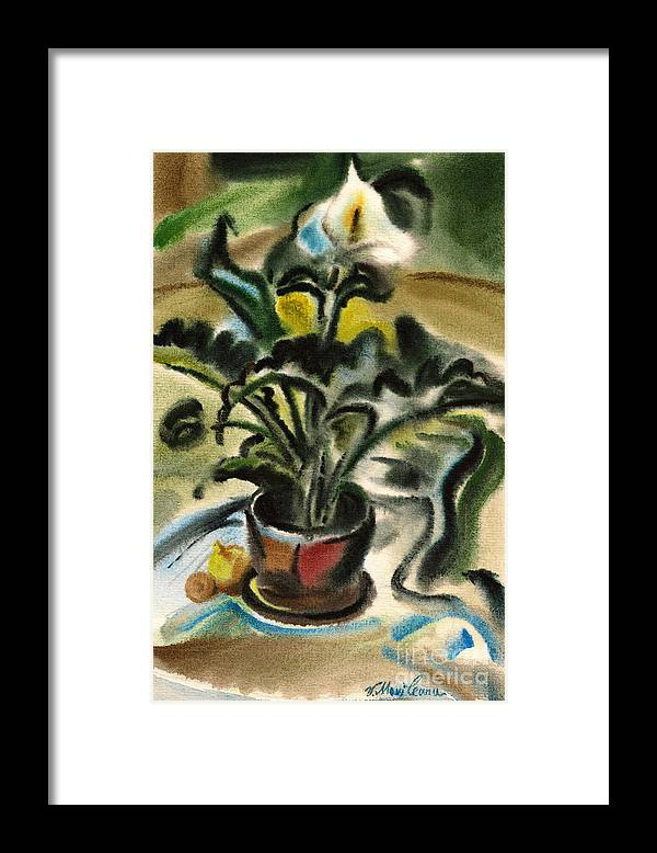 Vasile Movileanu Framed Print featuring the painting Calla Lily by Vasile Movileanu
