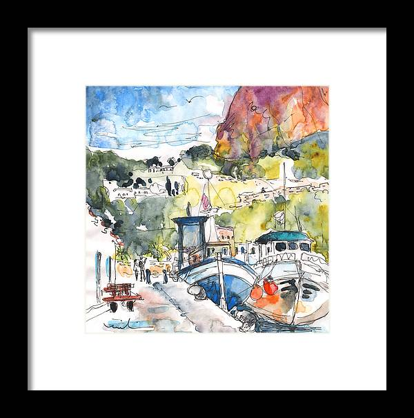Travel Framed Print featuring the painting Calpe Harbour 05 by Miki De Goodaboom