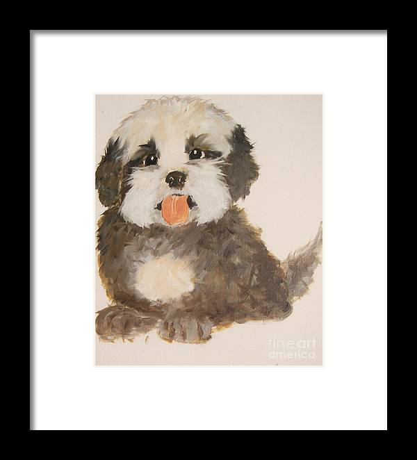 Pets Framed Print featuring the painting Can You Really Resist Me by Rachel Carmichael