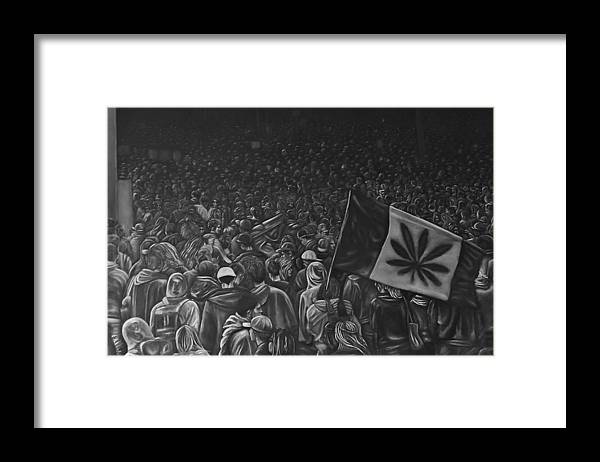 Landscape Framed Print featuring the painting Canadian Marijuana Demonstration by Edward Campbell