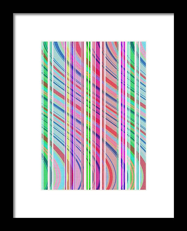 Candy Stripe (digital) By Louisa Knight (contemporary Artist) Framed Print featuring the digital art Candy Stripe by Louisa Knight