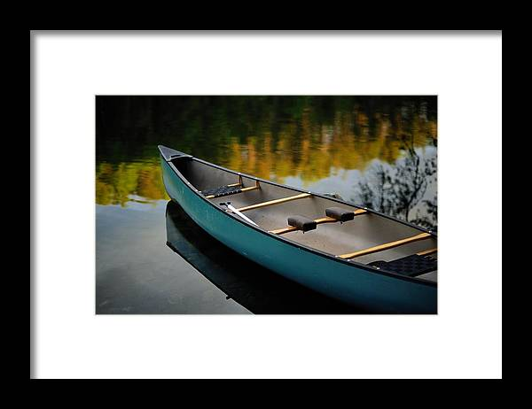 united States Framed Print featuring the photograph Canoe And Reflections On A Still Lake by Raymond Gehman