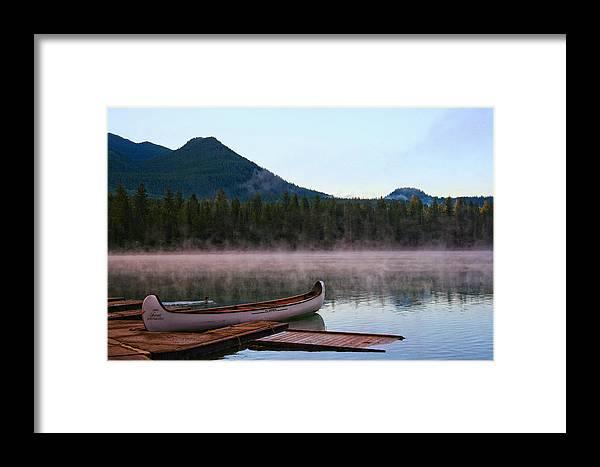 Landscape Framed Print featuring the photograph Canoe Waiting Jasper National Park by Greg McLemore