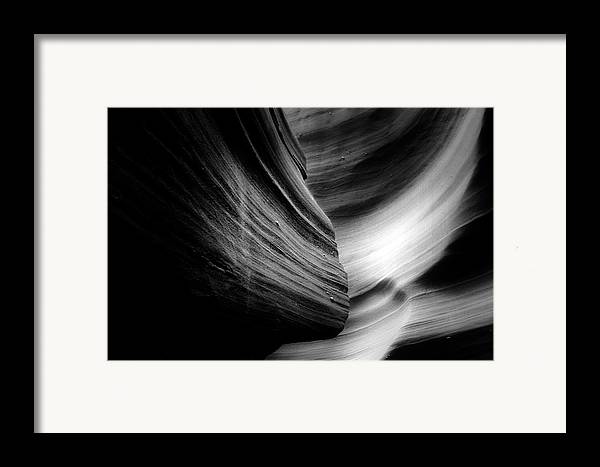 Southwest Framed Print featuring the photograph Canyon Curves In Black And White by Christine Till