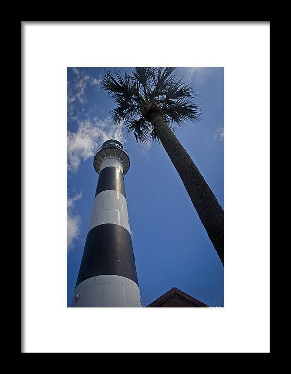 Lighthouse Framed Print featuring the photograph Cape Canaveral Lighthouse With Palm Tree by Roger Wedegis