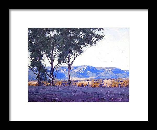Framed Print featuring the painting Caperty Valley Australia by Graham Gercken