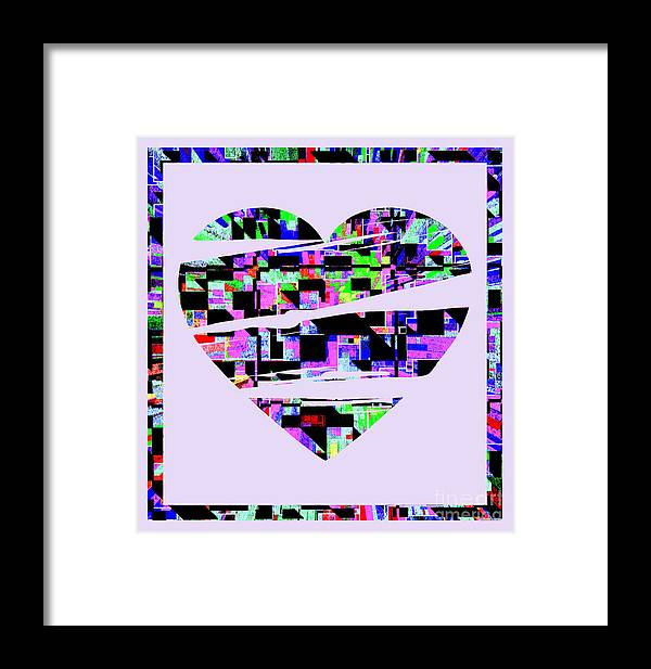 Abstract Heart Color Pen Ink Border Abstract Heart Color Pen Ink Border Abstract Heart Color Pen Ink Border Abstract Heart Color Pen Ink Border Abstract Heart Color Pen Ink Border Framed Print featuring the painting Cardiac by RJ Aguilar