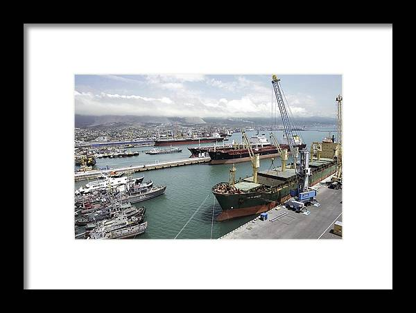 Port Framed Print featuring the photograph Cargo Ships In Port by Ria Novosti