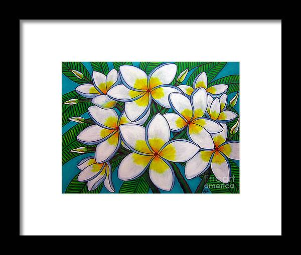 Frangipani Framed Print featuring the painting Caribbean Gems by Lisa Lorenz