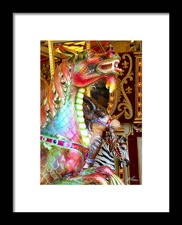 Carousel Framed Print featuring the photograph Carousel Dragon by Diana Haronis