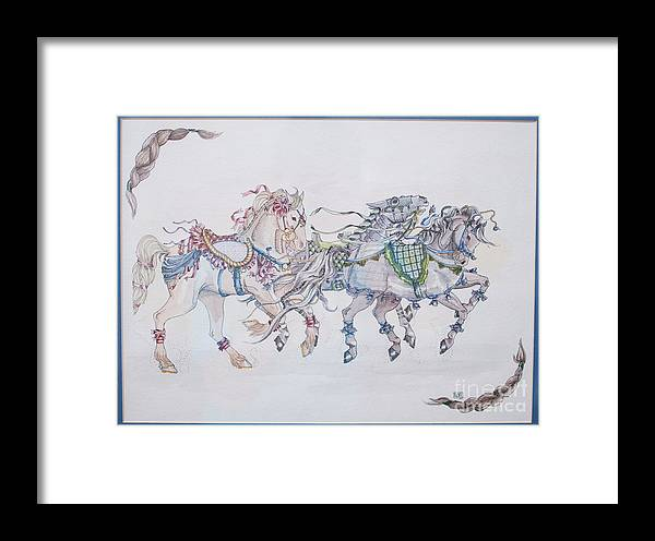 Horse Framed Print featuring the painting Carousel Parade by Becka Noel
