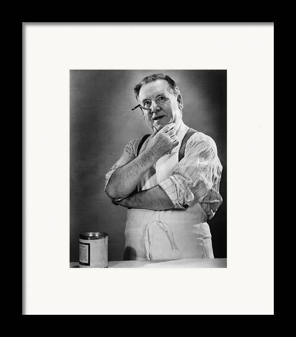 50-54 Years Framed Print featuring the photograph Carpenter Posing In Studio, (b&w) by George Marks