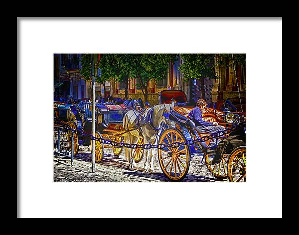 Spain Street Scanes Artistic Conceptions Framed Print featuring the photograph Carrage Waiting by Rick Bragan