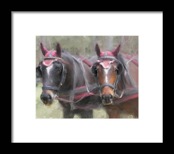 Horse Framed Print featuring the painting Carriage Horses Pleasure Pair by Connie Moses