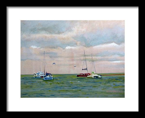 Carribean;sea;boats;sailboats;seagulls;seascape;sky;birds;water;ocean; Framed Print featuring the painting Carribean Afternoon by Howard Stroman