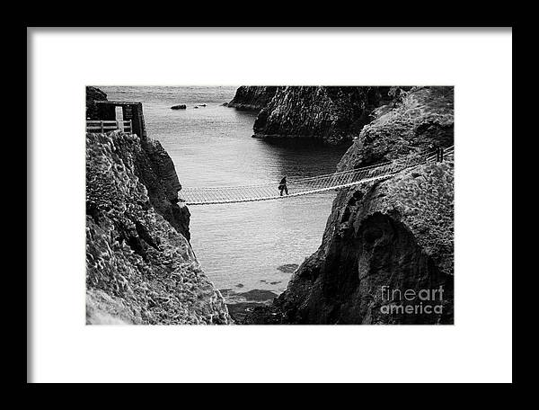 Northern Ireland Framed Print featuring the photograph Carrick A Rede Rope Bridge County Antrim Ireland by Joe Fox