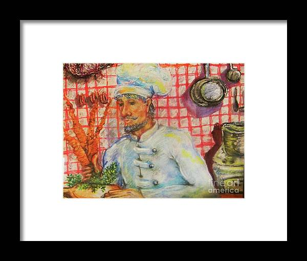 Chef Framed Print featuring the pastel Carrot Soup Chef by Emily Michaud