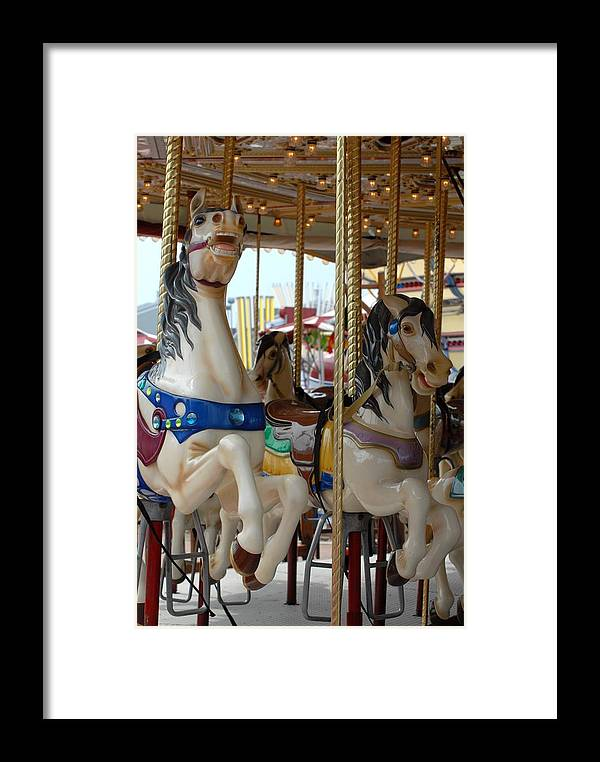 Carrousel Horse Canvas Prints Framed Print featuring the photograph Carrousel 84 by Joyce StJames