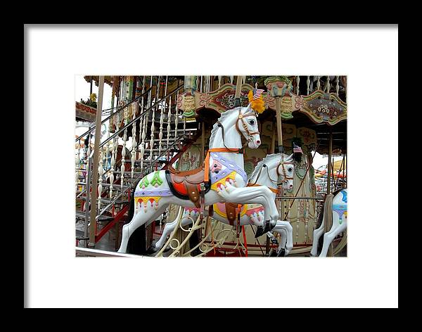 Carrousel Horse Canvas Prints Framed Print featuring the photograph Carrousel 87 by Joyce StJames