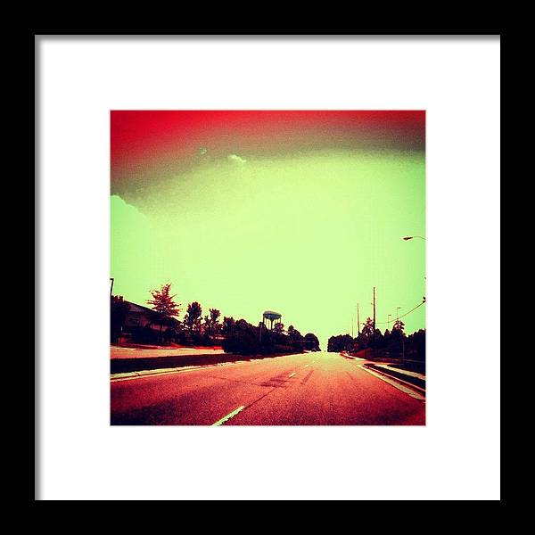 Cary Framed Print featuring the photograph #cary #driving #sky #red #watertower by Katie Williams