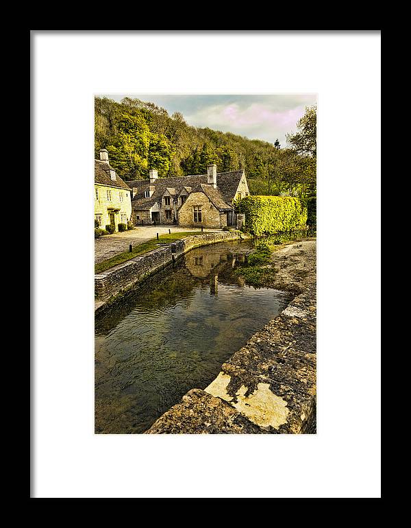 Castle Combe Framed Print featuring the photograph Castle Combe Bridgeside by Jon Berghoff