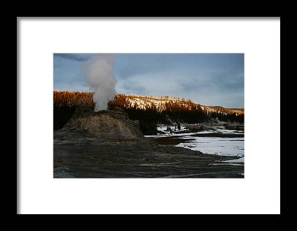Geysers Framed Print featuring the photograph Castle Geyser Yellowstone National Park by Benjamin Dahl