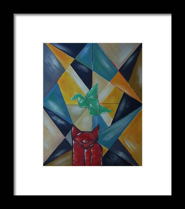 Abstract Framed Print featuring the painting Cat and bird by Joseph Ferguson