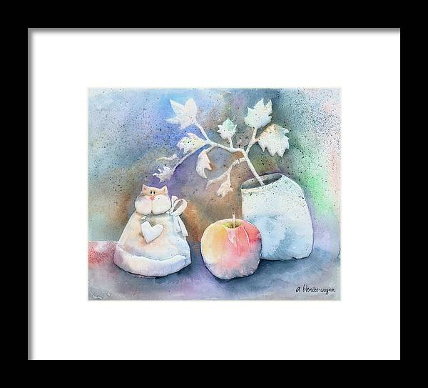 Cat Framed Print featuring the painting Cat-apple-vase Still Life by Arline Wagner