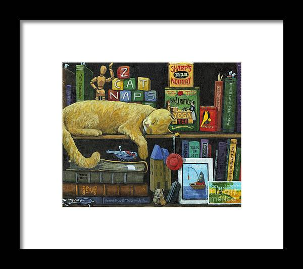 Cat Framed Print featuring the painting Cat Naps - old books oil painting by Linda Apple