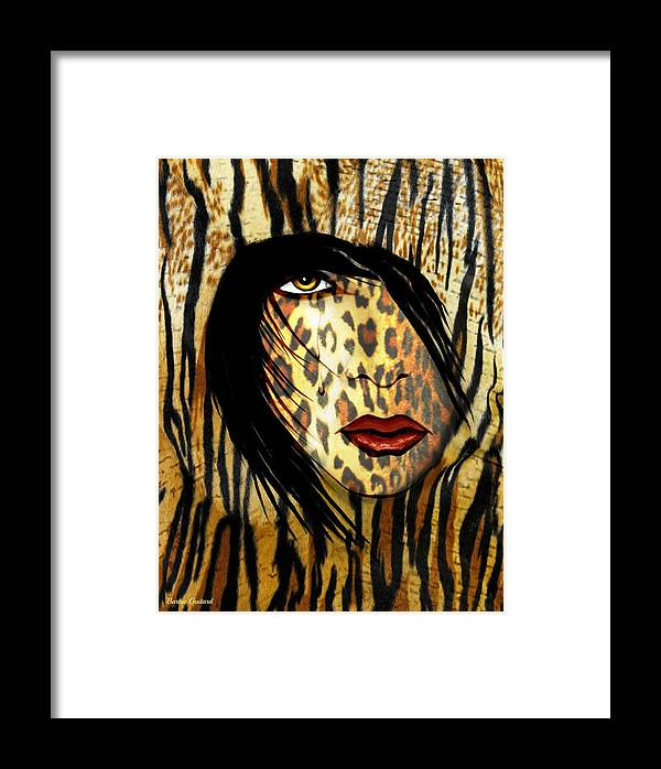 Animal Print Framed Print featuring the painting Cat Woman 2 by Barbie Guitard