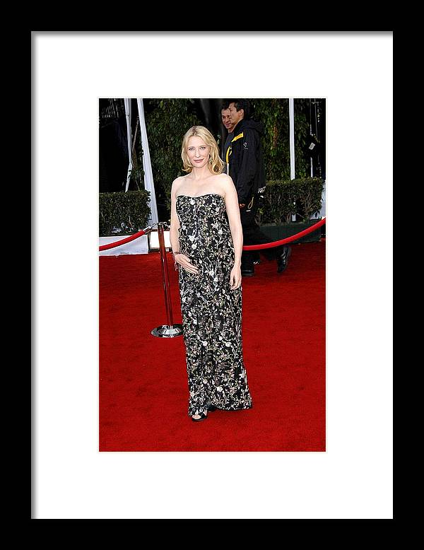 Arrivals - 44th Annual Screen Actors Guild Awards (sag) Framed Print featuring the photograph Cate Blanchett Wearing A Balenciaga by Everett