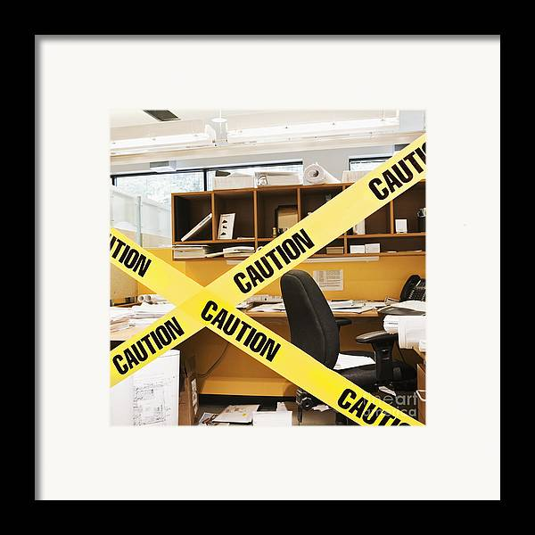 Architecture Framed Print featuring the photograph Caution Tape Blocking A Cubicle Entrance by Jetta Productions, Inc