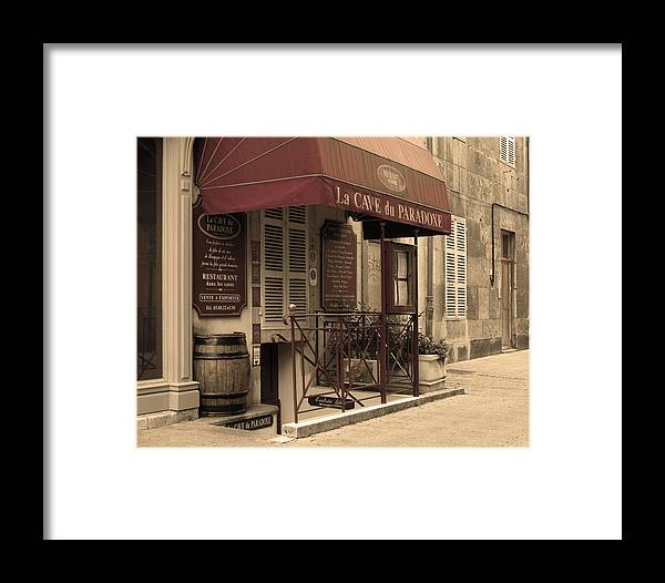 Wine Shop Framed Print featuring the photograph Cave Du Paradoxe Wine Shop In Beaune France by Greg Matchick