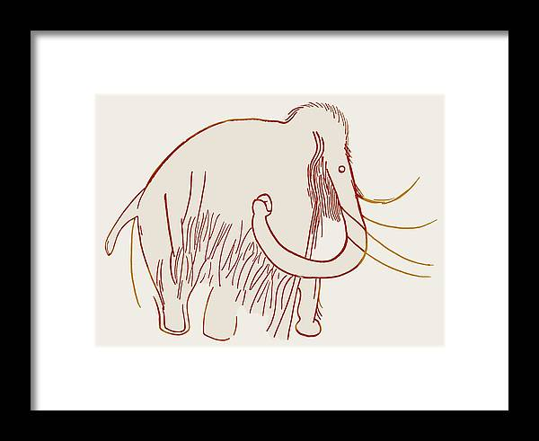 Mammuthus Framed Print featuring the photograph Cave Painting Of A Mammoth, Artwork by Sheila Terry