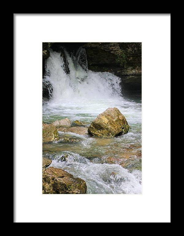 Ozarks Framed Print featuring the photograph Cave Water Fall by Karen Wagner