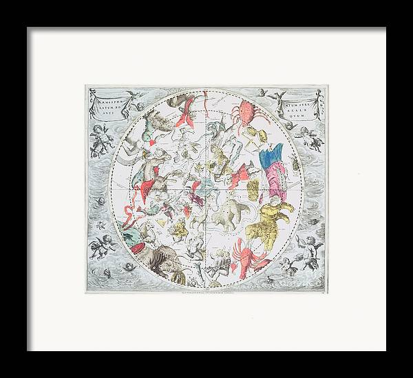 Celestial Planisphere Showing The Signs Of The Zodiac Framed Print featuring the drawing Celestial Planisphere Showing The Signs Of The Zodiac by Andreas Cellarius