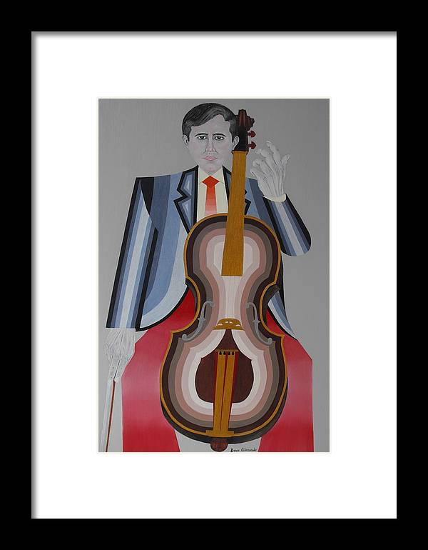 Realistic Framed Print featuring the painting Cellist by Bosco Alvarado