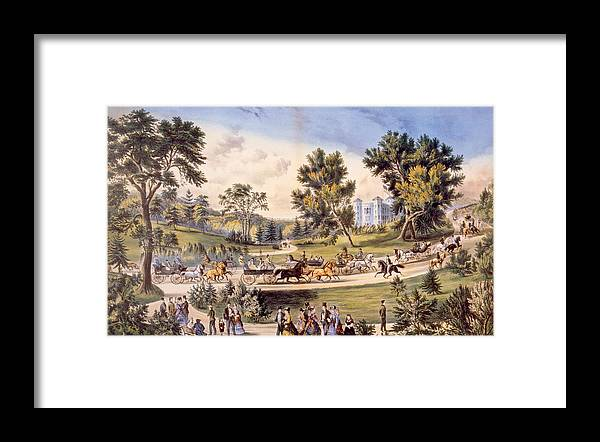 19th Century Framed Print featuring the photograph Central Park, The Grand Drive by Everett