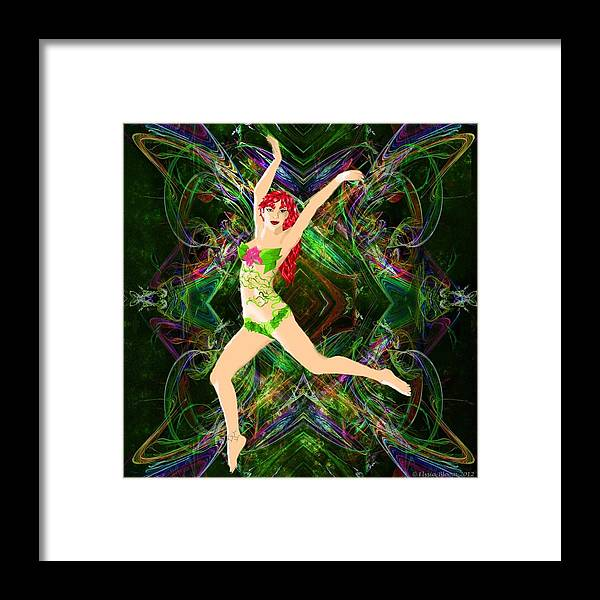 Cerise Poison Ivy Flowers Digital Painting Elysia Bloom Rose Thorns Deadly Gorgeous Beautiful Framed Print featuring the digital art Cerise by Elysia Bloom