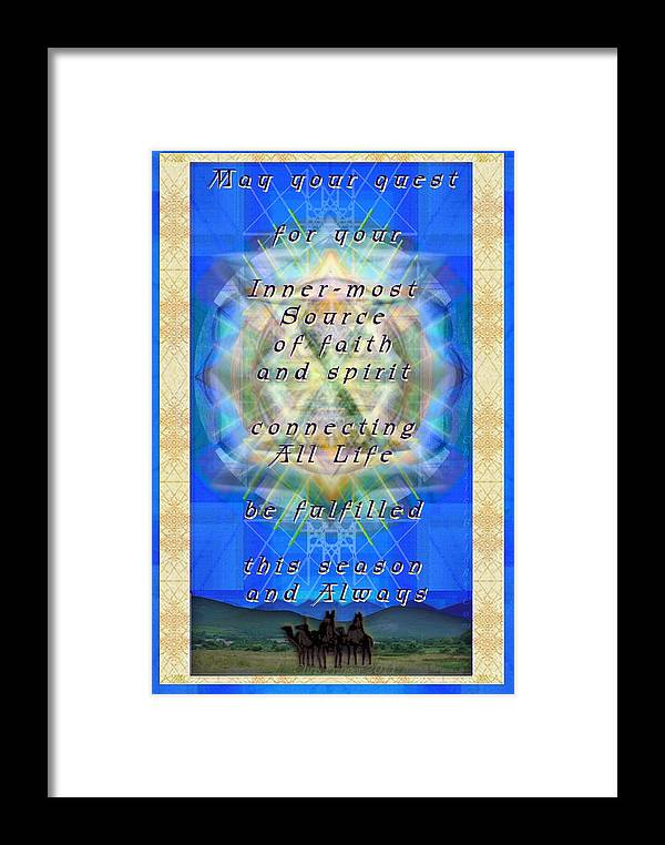 Solstice Framed Print featuring the digital art Chalice Star Over Three Kings Holiday Card Light With Text by Christopher Pringer
