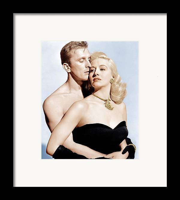 1940s Movies Framed Print featuring the photograph Champion, From Left Kirk Douglas by Everett