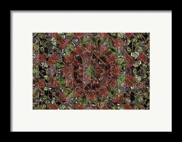 Chaos Abstract Digital Painting Red Rose Roses Black Hole Mosaic Texture  Framed Print featuring the painting Chaos by Steve K