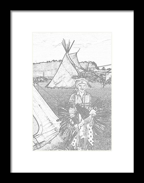 American Indian Art <a Class=addthis_button Href=http://www.addthis.com/bookmark.php?v=300&pubid=ra-507399847641a9a4><img Src=http://s7.addthis.com/static/btn/v2/lg-share-en.gif Width=125 Height=16 Alt=bookmark And Share Style=border:0/></a> Framed Print featuring the photograph Charcole American Indian Children by G Adam Orosco