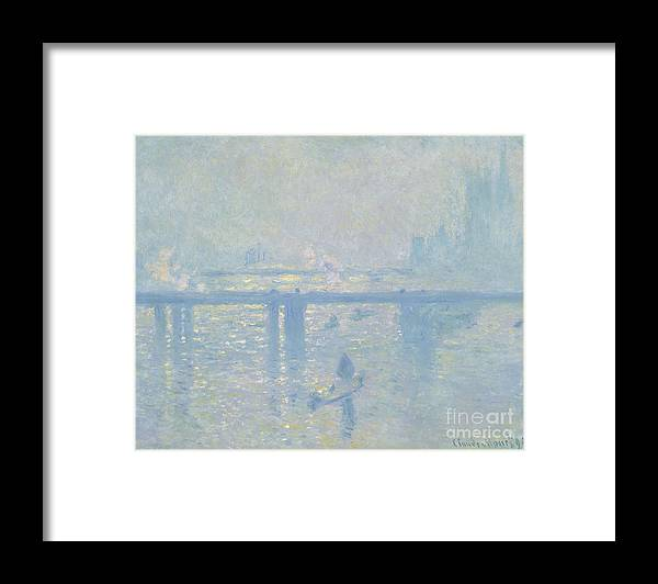 Claude Monet Framed Print featuring the painting Charing Cross Bridge by Extrospection Art